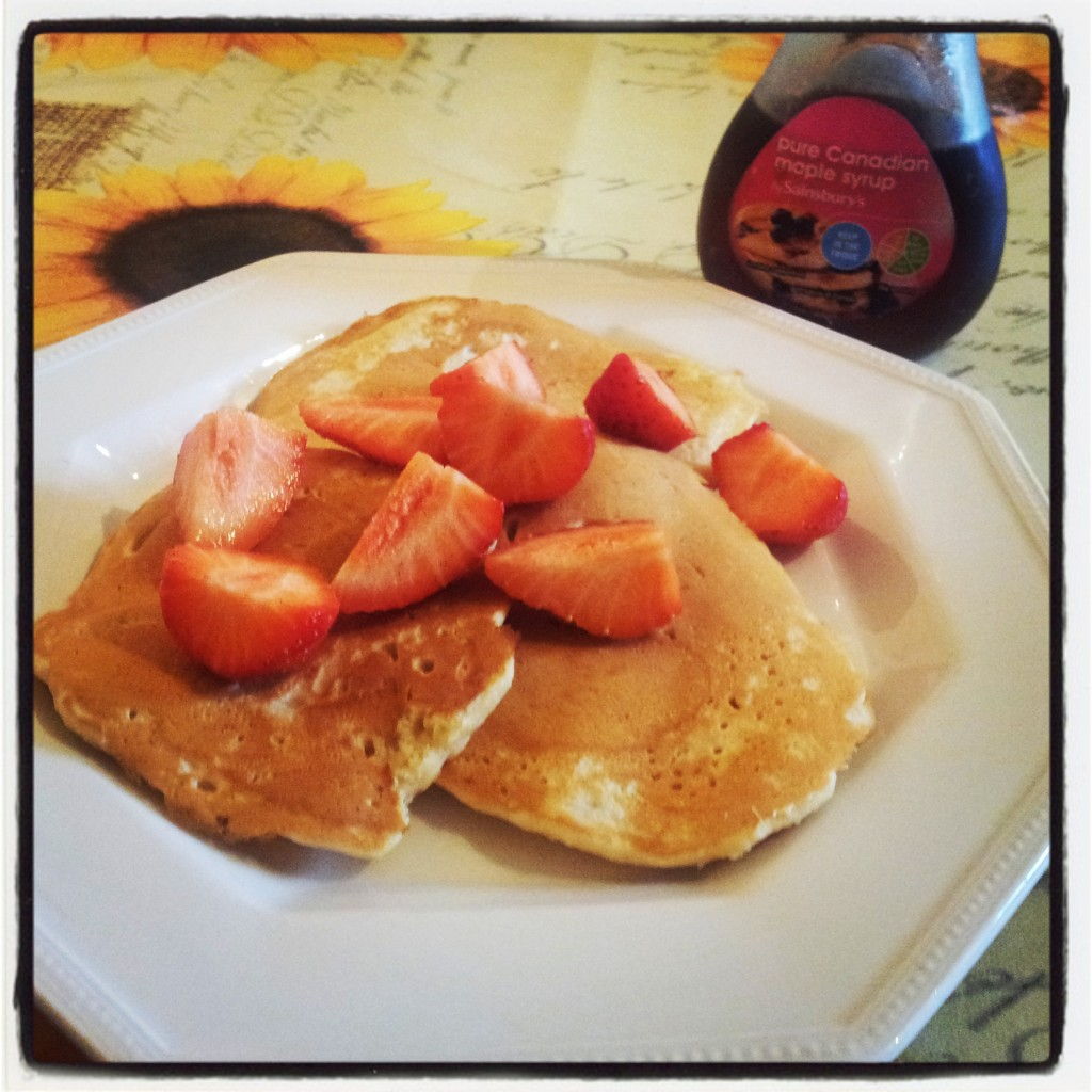 Dairy free, egg free american style pancakes with strawberries