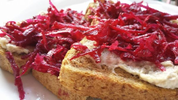 dairy free mackarel pate and beetroot on toast