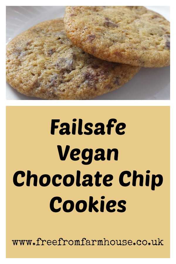 These dairy free, egg free cookies are a failsafe recipe. Noone will realise they are vegan chocolate chip cookies as they are chewy and delicious! #vegancookies #eggfreecookies #veganchocolatechipcookies #dairyfreecookies