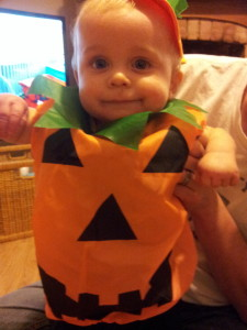 J dressed as a Pumpkin for his 1st Halloween