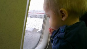 On his first flight at 9 months.