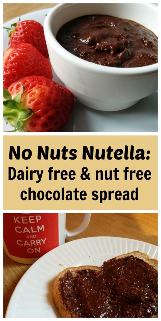 Nut free nutella: This nut free, dairy free chocolate spread only contains 4 ingredients and is quick, easy and healthy.