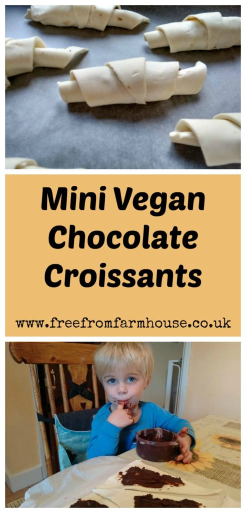 Mini vegan chocolate croissants are an easy and fun start to the day for you or your little ones. www.freefromfarmhouse.co.uk