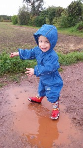 Jumping in muddy puddles is a great way for little ones to enjoy the countryside