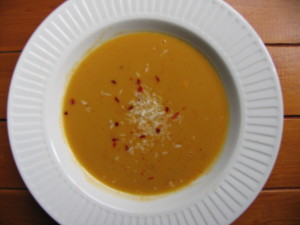 vegan sweet potato and coconut soup with chilli