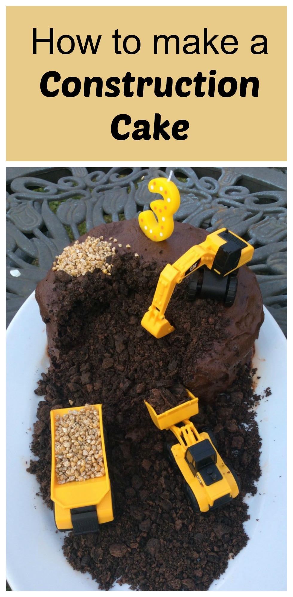 This Construction Cake Complete With Diggers And Dump Trucks Is So Easy To Make But