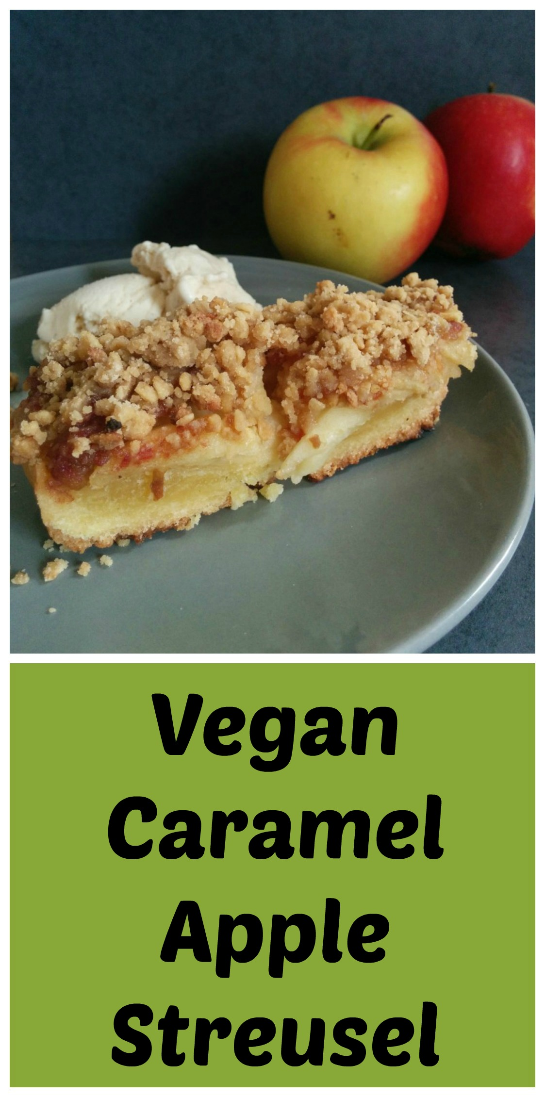 Who can resist this vegan dessert? Caramel apple streusel with date caramel is a indulgent but healthy treat with a crumbly topping. www.freefromfarmhouse.co.uk