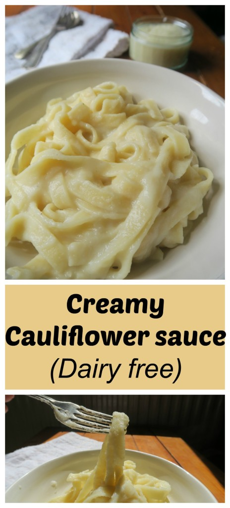 This creamy cauliflower sauces makes a great dairy free and vegan white sauce for pasta. #dairyfree #dairyfreewhitesauce #cauliflowersauce #veganwhitesauce