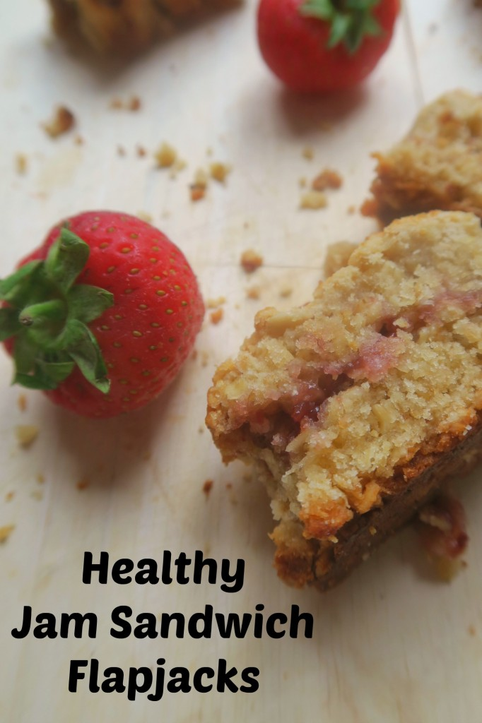Healthy flapjack - these jam sandwich flapjack bars are vegan, low in sugar by so satisfying!