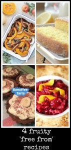 4 fruity free from recipes: sausage tray bake, lemon drizzle cake, banoffee tarts, apple and cranberry sauce