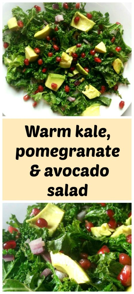 Kale, pomegranate and avocado salad is a light, delicious and nutrient packed vegan lunch.