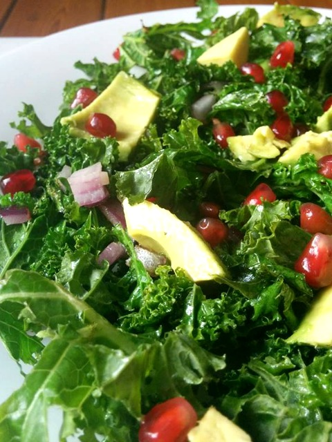 Warm kale, pomegranate & avocado salad - Free From Farmhouse