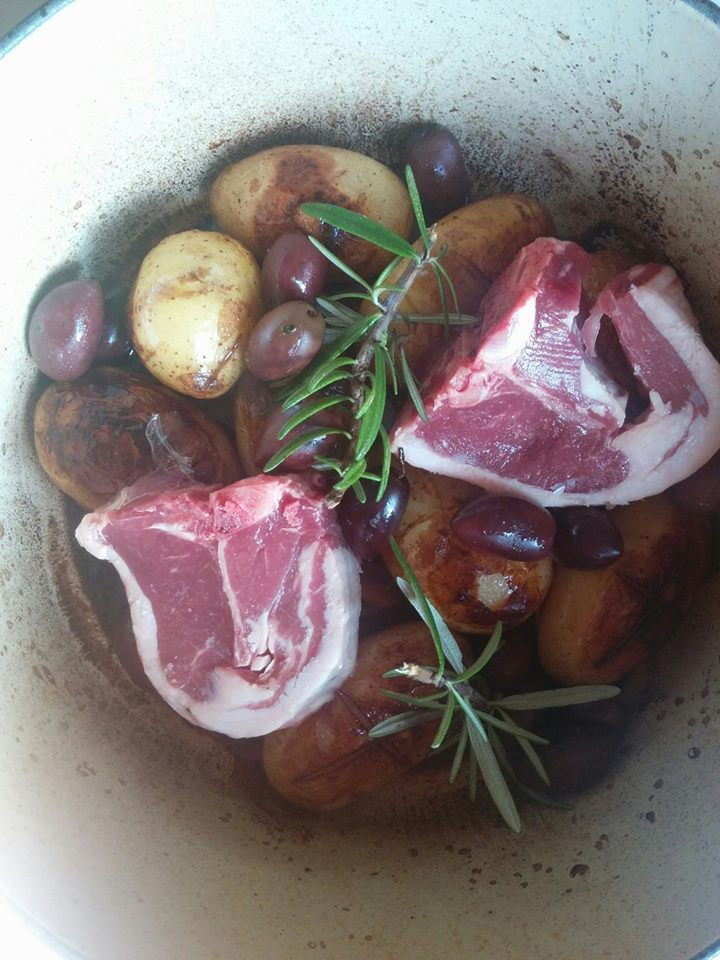 ;ambe with red wine potatoes and olives