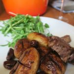 Lamb with red wine Cypriot potatoes and olives