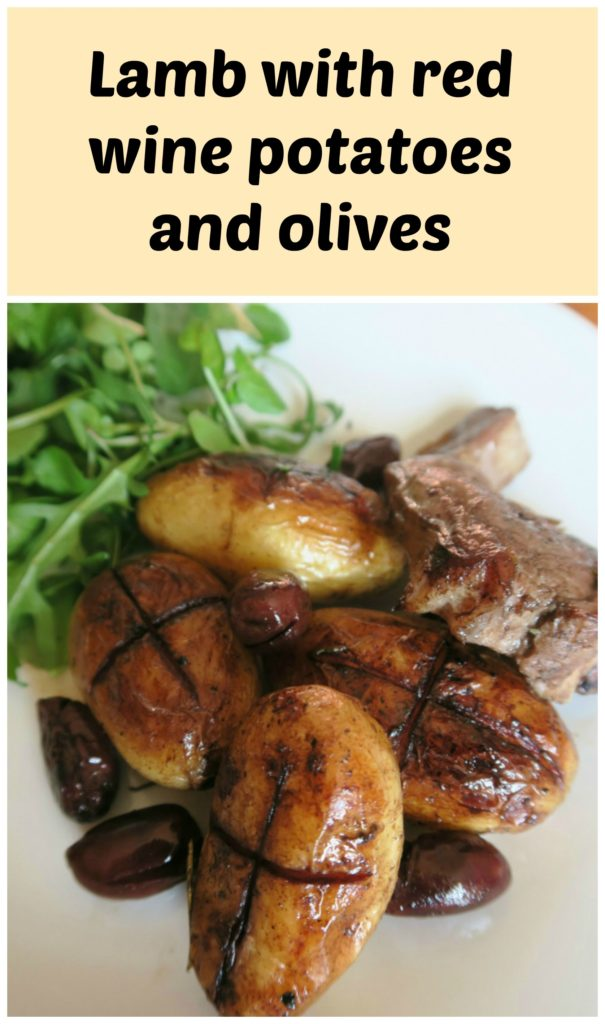 lamb with red wine potatoes and olives is an easy one pot traybake inspired by the flavours of Cyprus