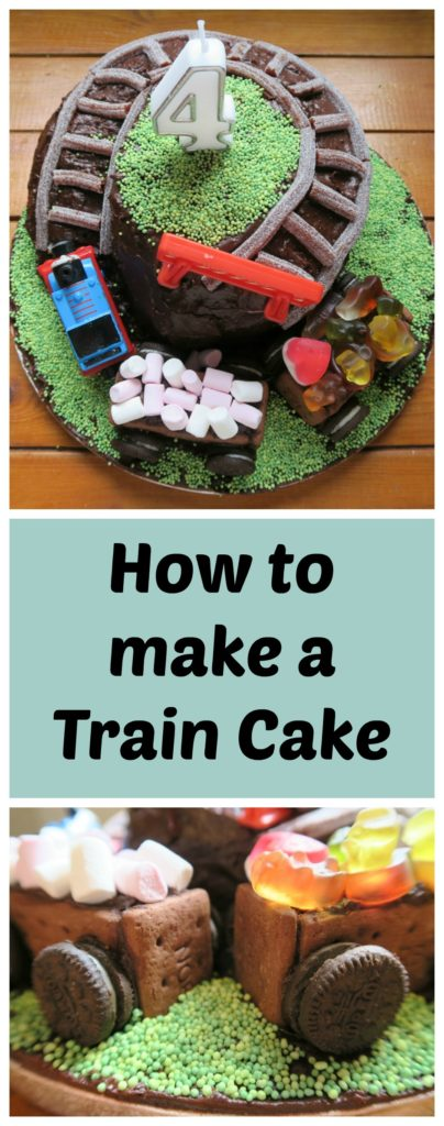 How to make a train cake. Your child will love this train cake, complete with Thomas the tank engine. Turn a simple chocolate cake into a showstopper with biscuit carriages filled with sweets and a hill complete with train track. It is also completely milk, egg and nut free if you use my vegan cake recipe!