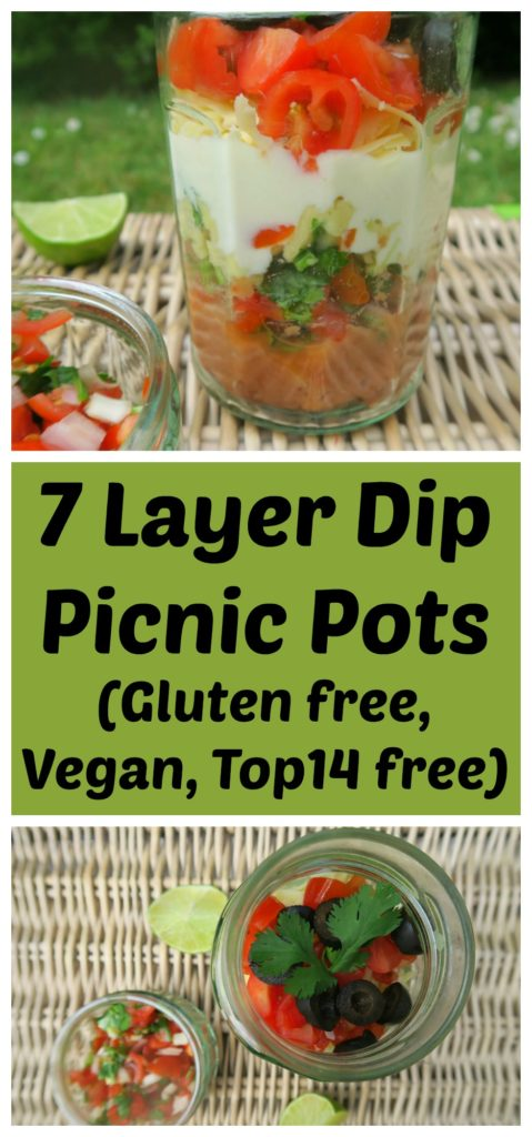 These 7 layer dip picnic pots are gluten free, vegan and top14free. They are full of Mexican flavour and fresh ingredients. Perfect for your next picnic!