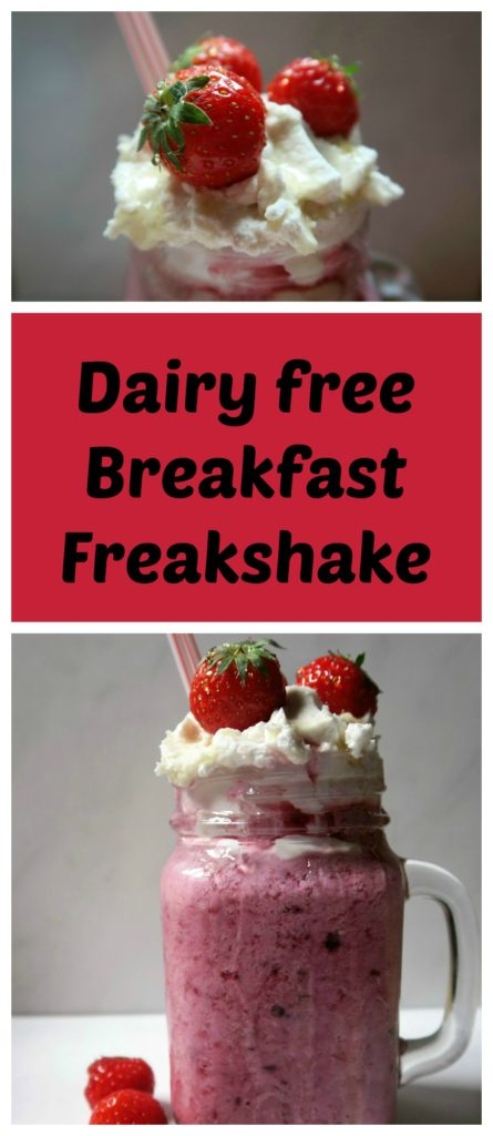 A breakfast freakshake takes a dairy free smoothie to a new level! This healthy berry and banana smoothie is topped with coconut cream for a delicious and decadent start to the day.