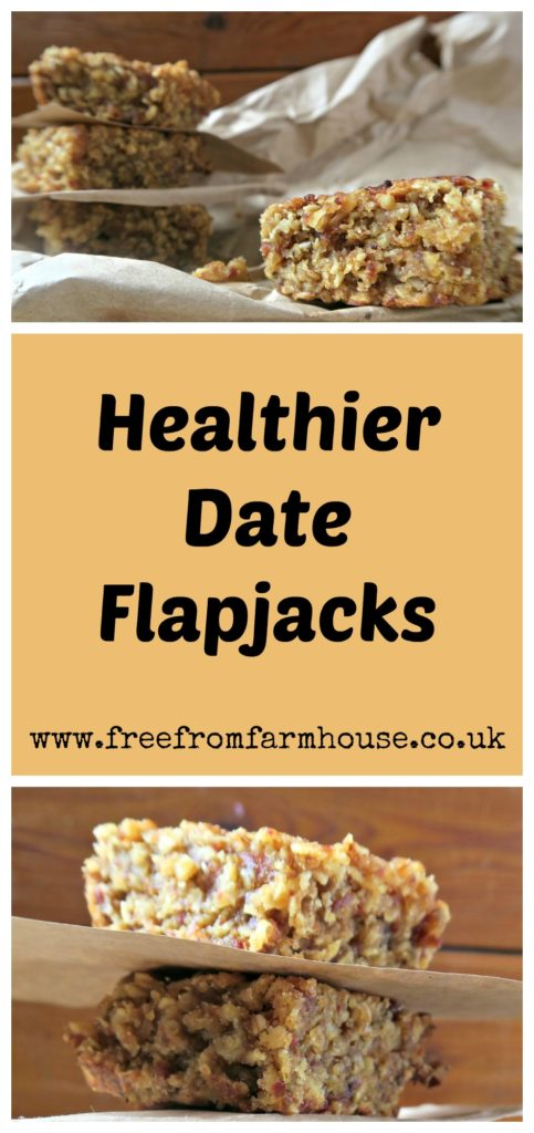 These healthy date flapjacks are dairy free, sticky and delicious. They are low in sugar and perfect for an afternoon treat or lunchbox.