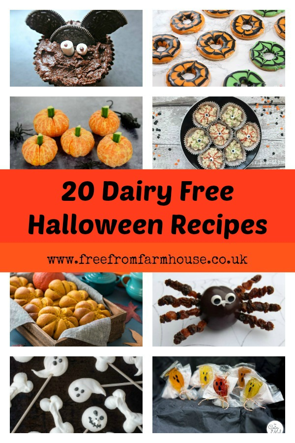 These dairy free halloween recipes are perfect for any spooky spread. The allergy friendly options are also nearly all gluten free and egg free too. Enjoy vegan chocolate cake, gluten free cookies and dairy free lunch ideas with a Halloween twist. www.freefromfarmhouse.co.uk