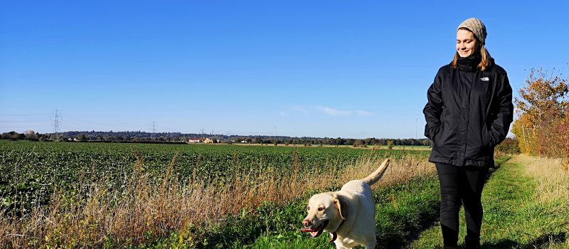 Dog walking in all weather with Millets